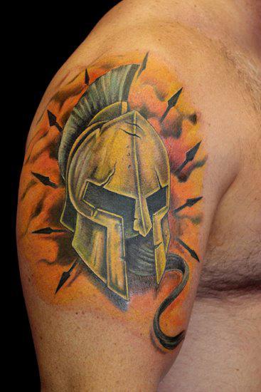 Incredible Helmet Portrait Tattoo On Shoulder For Boys