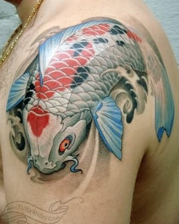 Incredible Koi Fish Tattoo For Shoulder For Boys