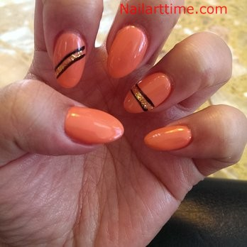 Incredible Orange Color Paint Almond Shaped Acrylic Nail Art
