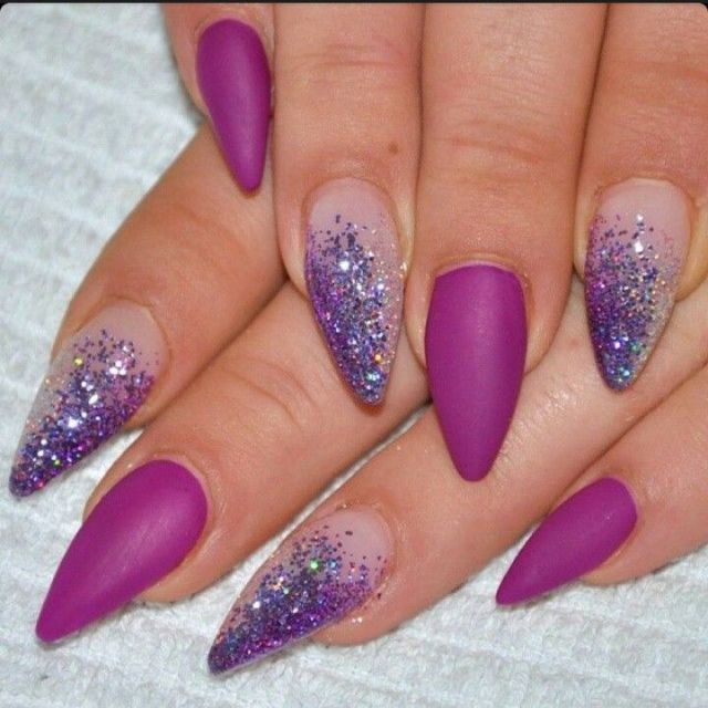 Incredible Purple Color With Silver Sparkling Almond Shaped Acrylic Nail Art