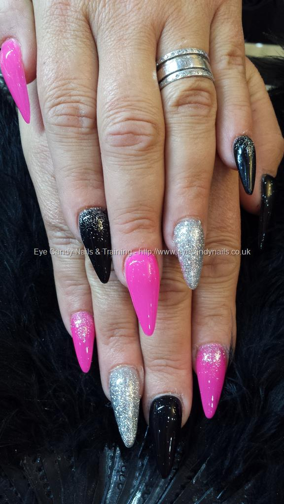 Incredible Stiletto Nails WIth Pink And Silver Nails