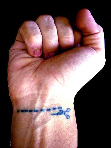 Innovative Funny Scissor Tattoo On Wrist For Girls