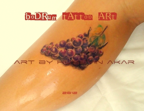 Innovative Small Grapes Tattoo Design For Boys