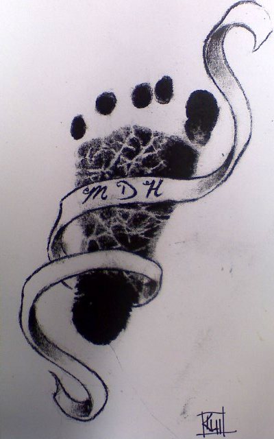 Inspirational Baby Footprint Tattoo Design For Boys