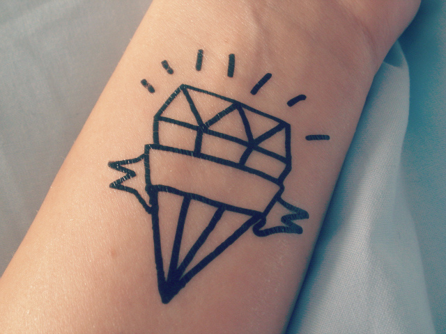 Inspirational Diamond Outline Tattoo On Wrist For Boys