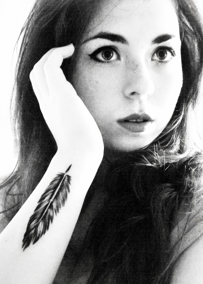 Inspirational Feather Tattoo On Wrist For Girls