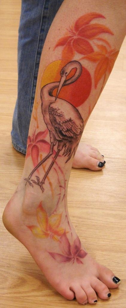 Inspirational Feminine Duck Tattoo On Leg For Girls