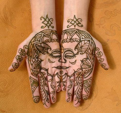 Inspirational Henna Face  Tattoo On Hands For Girls