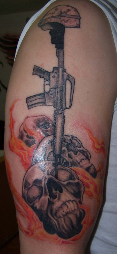 Inspiring Army Skulls Fire Tattoo Design On Arm