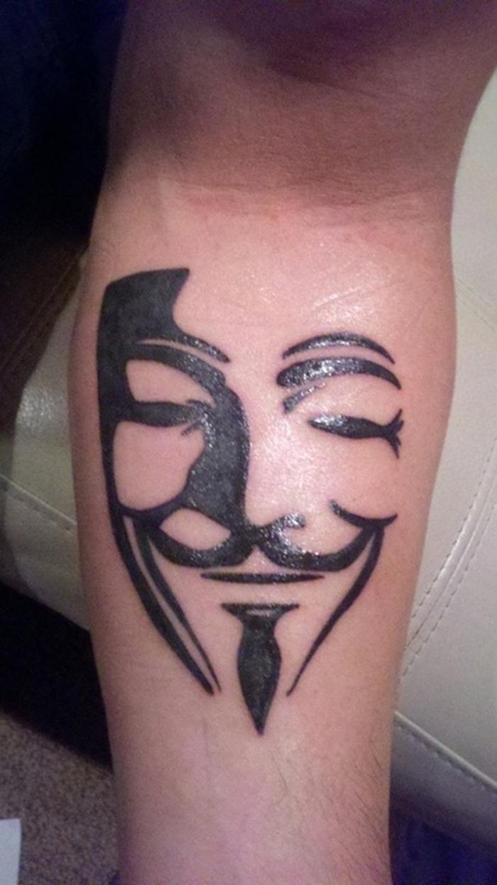 Inspiring Funny Mask Tattoo On Leg For Boys