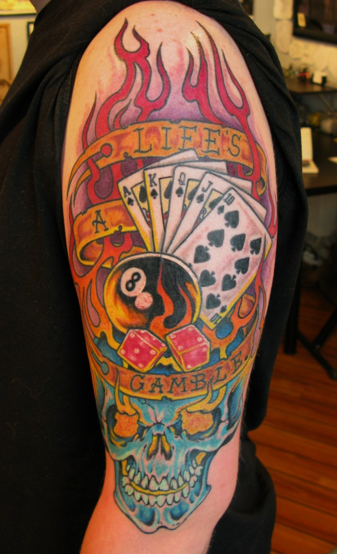 Inspiring Life's A Gamble Tattoo On Left Arm For Boys