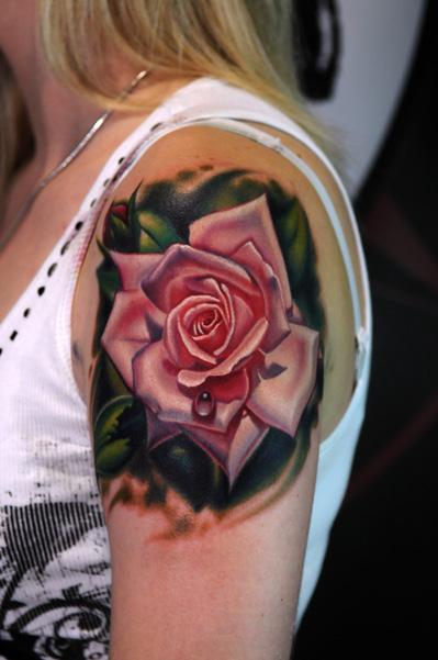 Latest Funky Rose Tattoo On Left Shoulder For Women