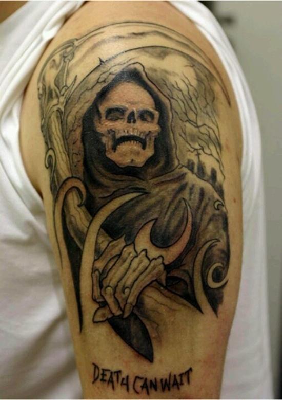 Latest Grim Reaper Shoulder Tattoo Design For Boys