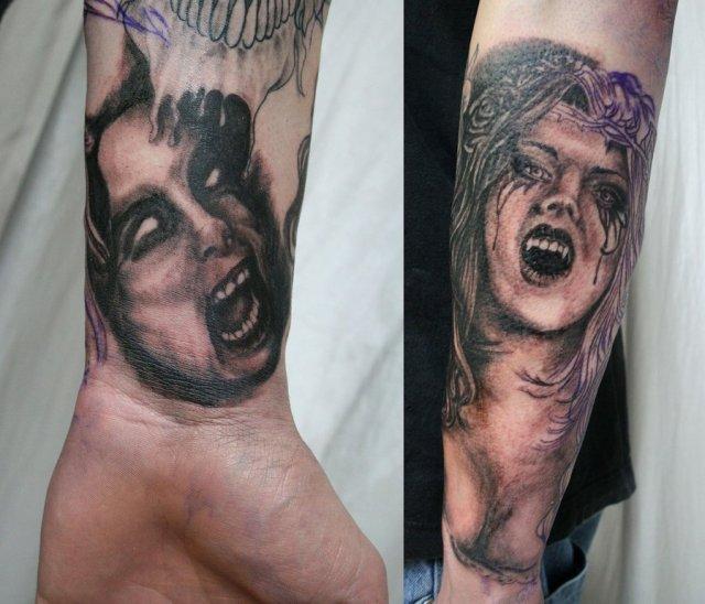 Latest Horror Face Tattoo On Sleeve For Girls