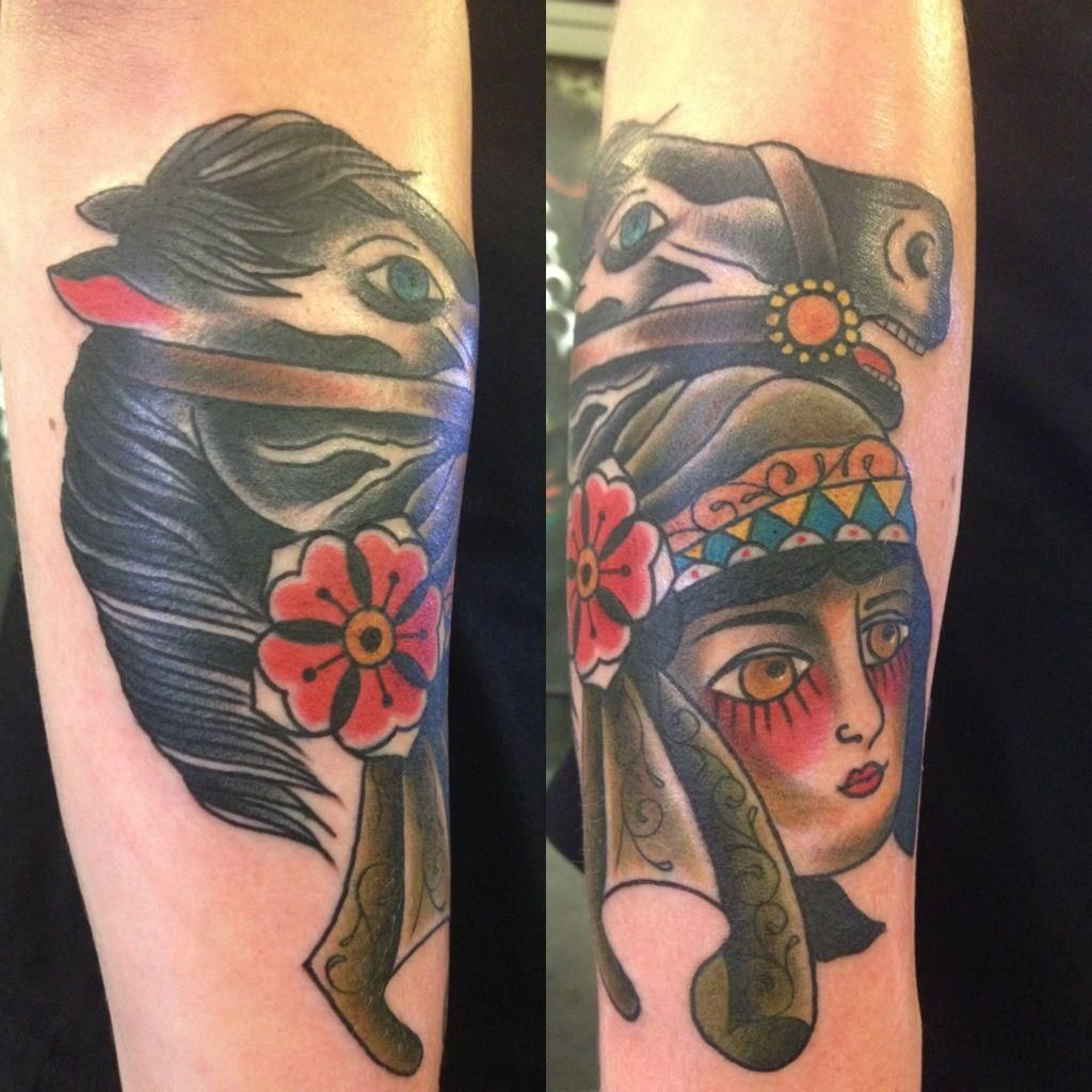 Latest Horse And Woman Head Tattoo Design For Girls