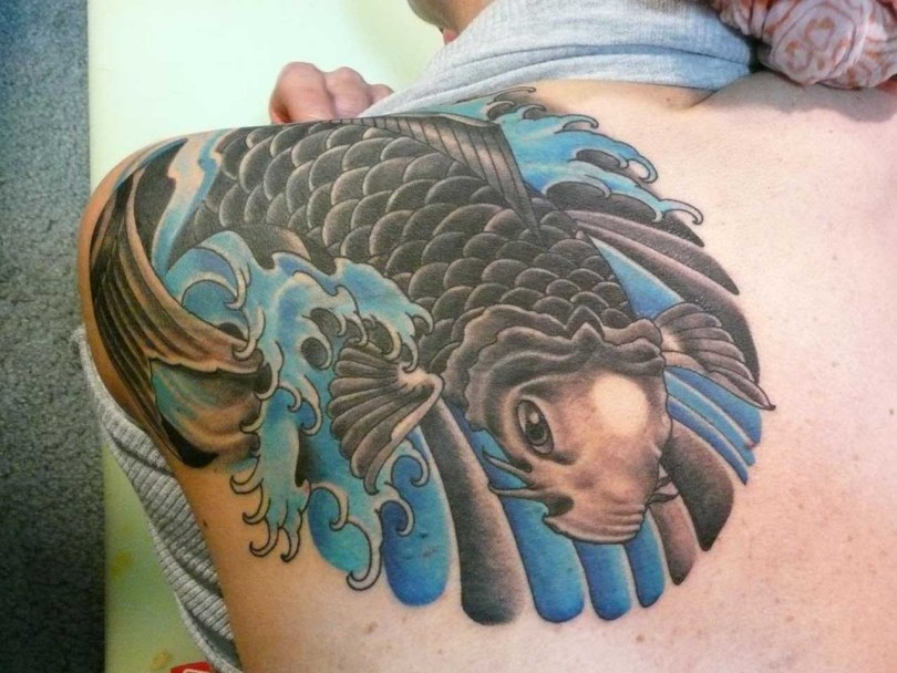 Latest Koi Fish Tattoo On Back Shoulder