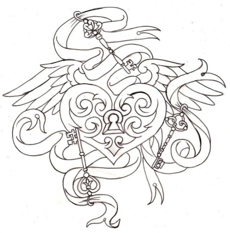 Latest Winged Heart n Keys Tattoo Sample For Girls