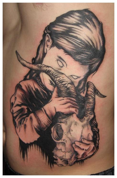Latest Zombie Girl Tattoo Design For Boys