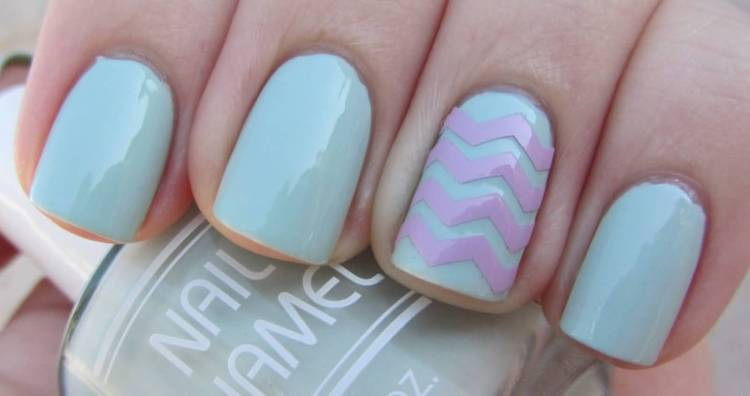 Light Blue Nail Paint With Red Stripes Accent Nail Art