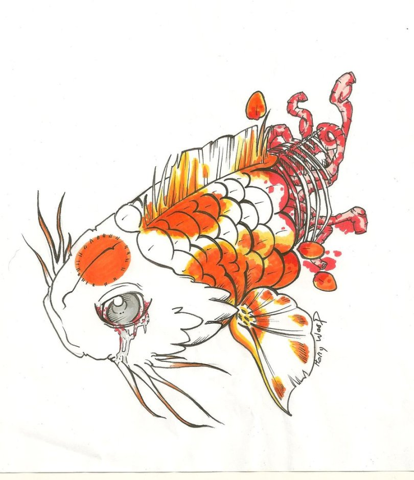 Lovely A Dead Fish Tattoo Design For Girls