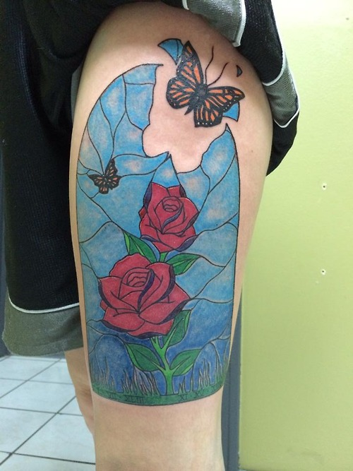 Lovely Broken Stained Glass Rose Window With Butterfly Tattoo For Girls