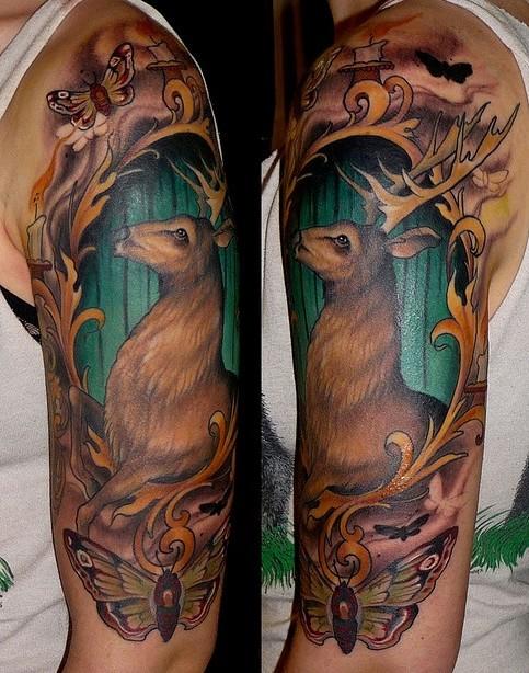 Lovely Buck Half Sleeve Tattoo Design For Boys