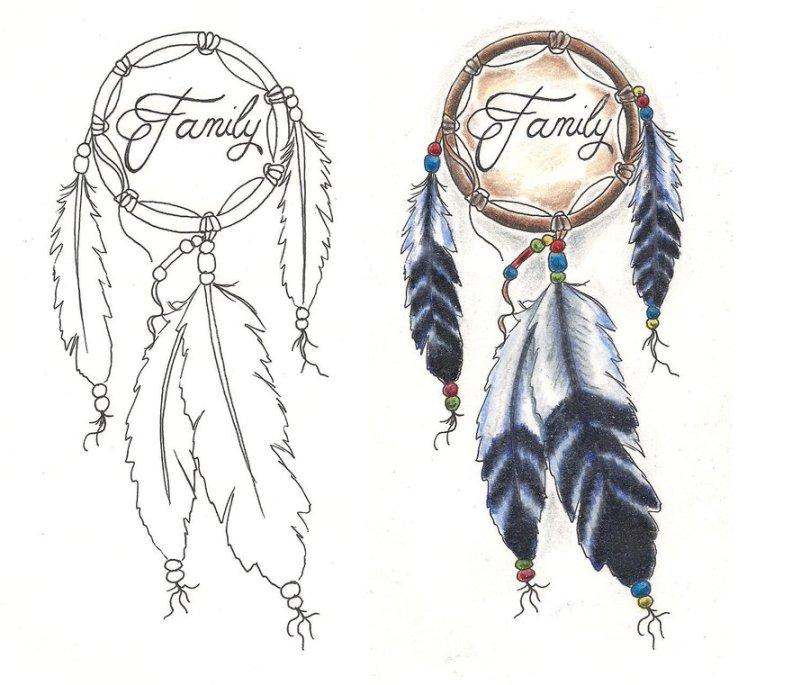 Lovely Family Dream Catcher Tattoo Designs For Girls