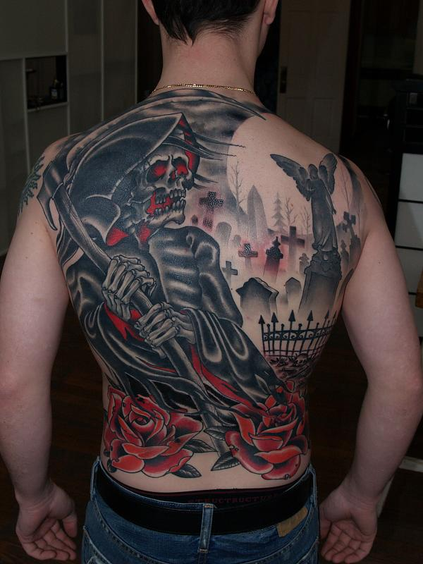 Lovely Full Back Grim Reaper Graveyard Tattoo For Boys