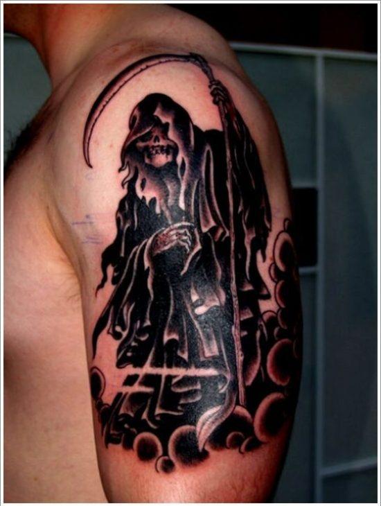 Lovely Grim Reaper Tattoo On Biceps For Boys