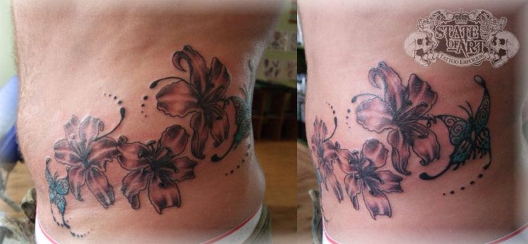 Lovely Hibiscus Tattoo Art On Hip For Boys