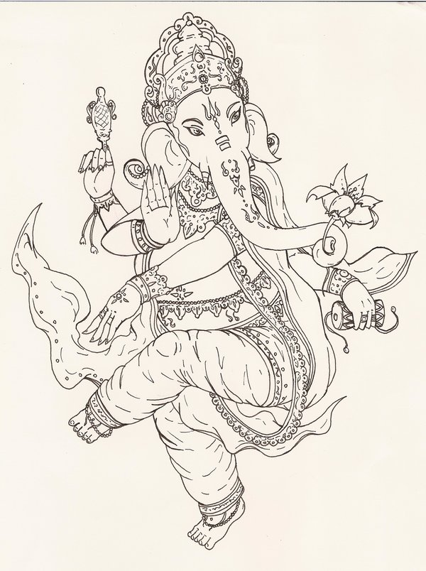 Maori Ganesha Tattoo Sketch For Boys
