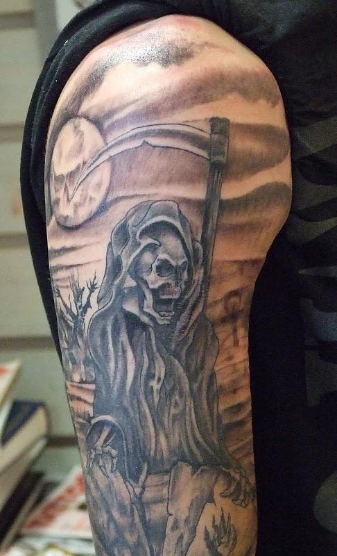 Maori Horror Grim Reaper Tattoo On Upper Arm For Boys