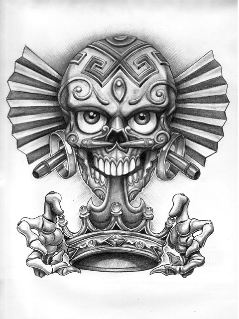 Marvel Dia De Los Muertos Skull With Crown Tattoo Design For Girls