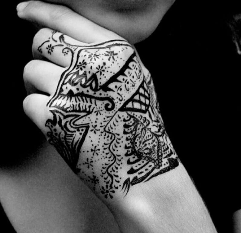 Marvel Gangsta Tattoo On Hand For Girls