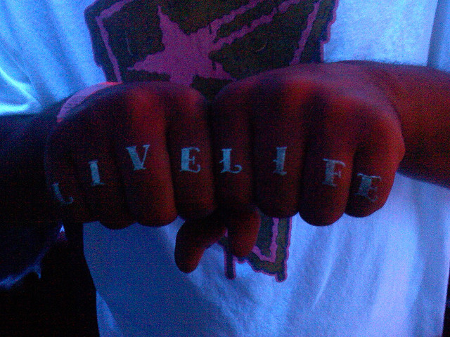 Marvelous Blacklight Tattoo On Fingers For Boys