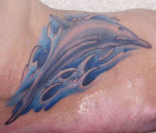 Marvelous Blue Dolphin Tattoo For Boys