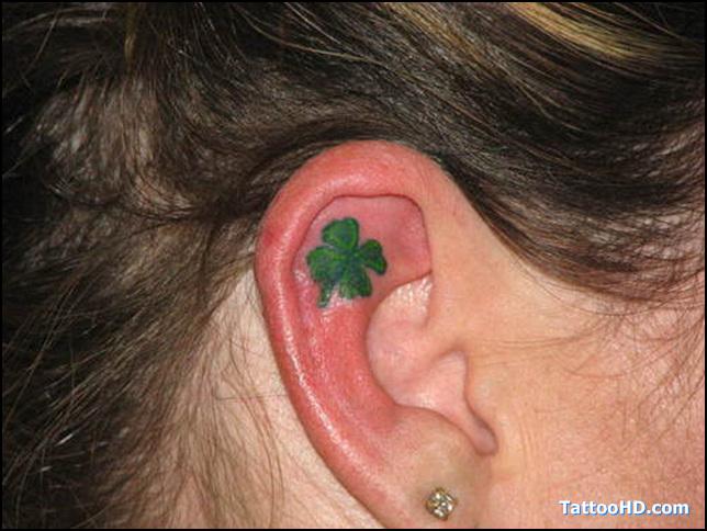Marvelous Clover Tattoo In Ear For Girls