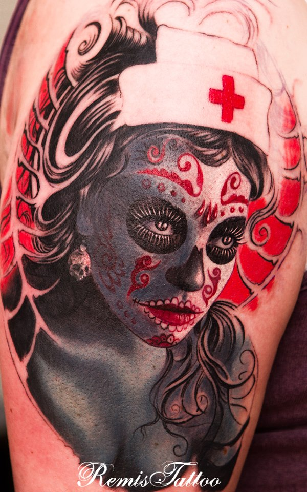 Marvelous Color Day Of The Dead Sugar Girl Tattoo Design For Boys
