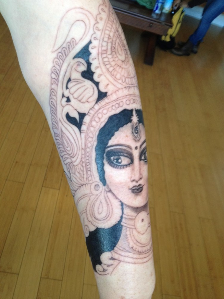 Marvelous Hindu Goddess Tattoo On Sleeve For Girls