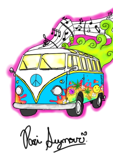 Marvelous Hippie Bus Tattoo Sample For All