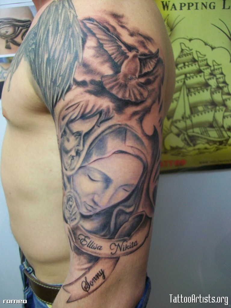 Marvelous Religious Half Sleeve Tattoo Design For Boys