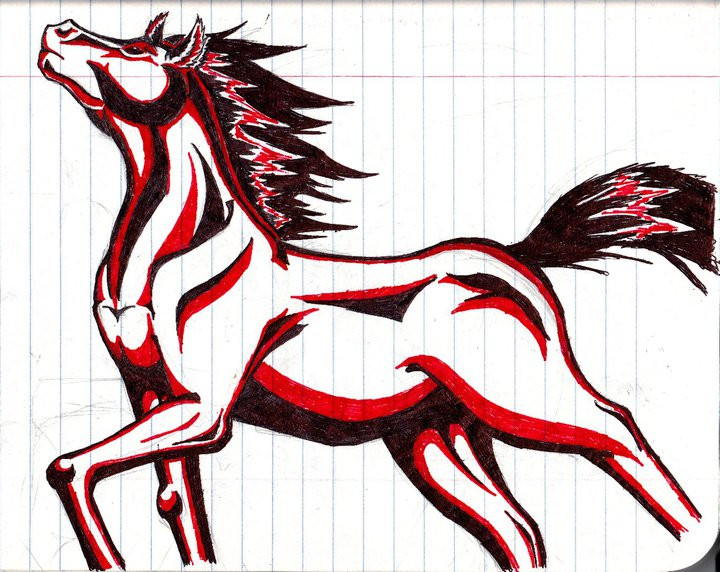 Marvelous Tribal Horse Tattoo Drawing For Girls