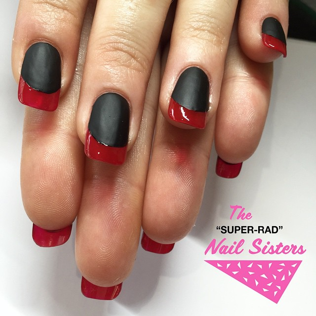 Matte Black Nails With Red French Tip Design