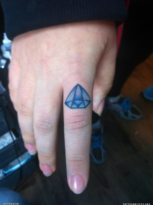 Mind Blowing Blue Diamond Tattoo On Finger For Girls