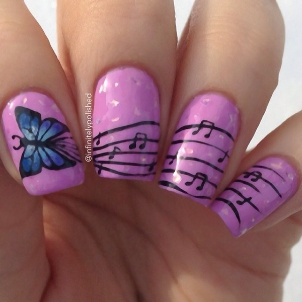 Mind Blowing Butterfly Nail With Purple Color
