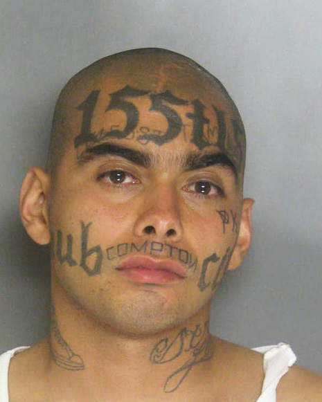Mind Blowing Compton Gangster Mugshot Facial Tattoo Design For Boys