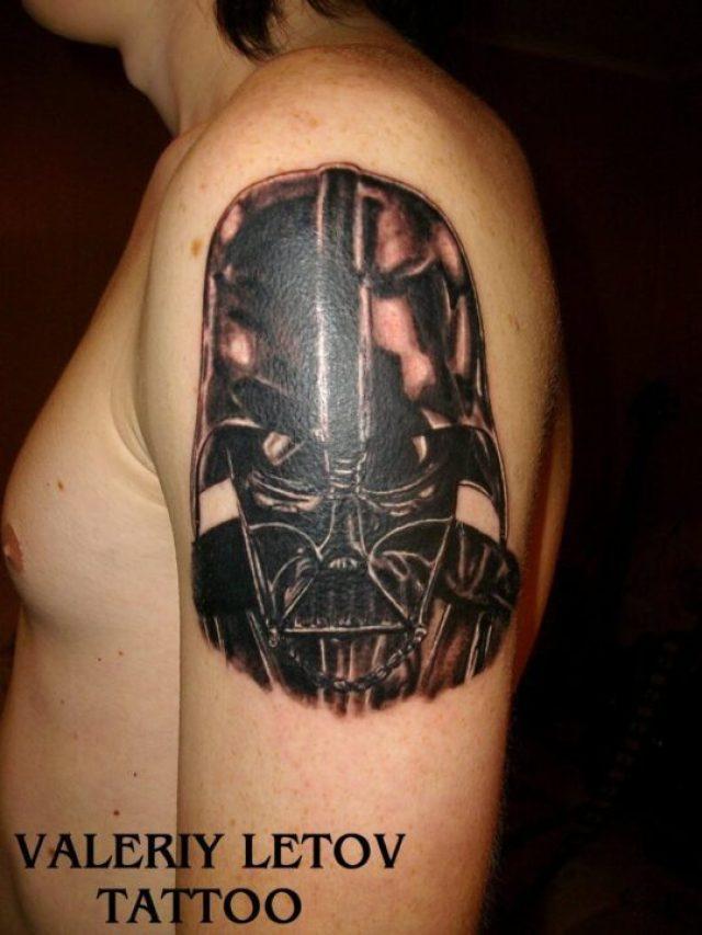 Mind Blowing Darth Vader Helmet Tattoo On Shoulder For Boys