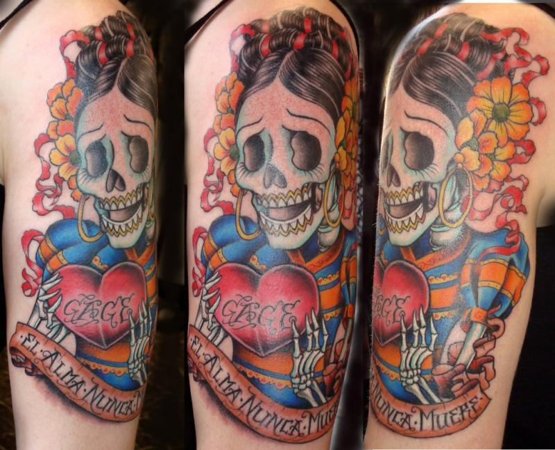 Mind Blowing Dia De Los Muertos Skull With Heart Tattoo Design For Girls