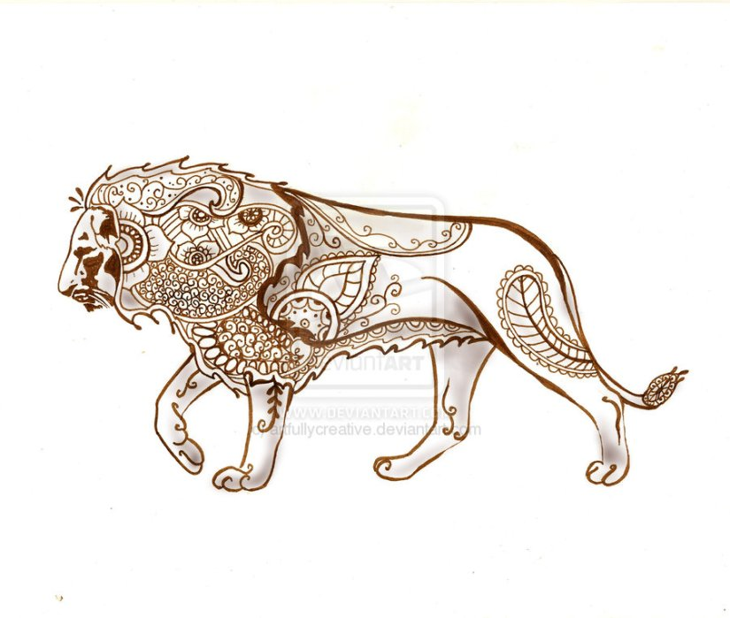 Mind Blowing Henna Lion Tattoo Sample For Boys