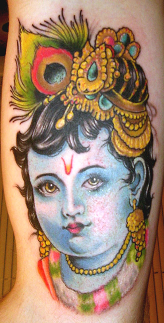 Mind Blowing Hindu God Krishna Tattoo Design For Boys